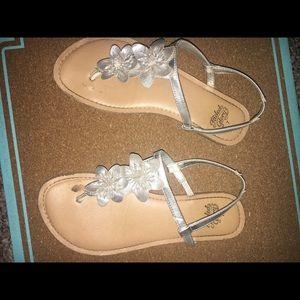 Silver Flower Strap Sandals